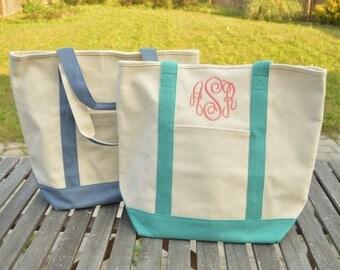 Monogram Boat Tote, Monogrammed Tote Bag, Monogram bag, Monogrammed canvas bag, Boat bag, Monogram canvas tote, Boat Tote, Comfort Colors