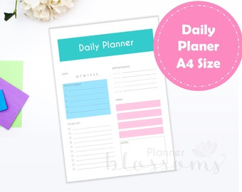 A4 Size, Daily planner insert, printable. Daily plan, multi-color for binder. Portrait. Instant download. PDF File.