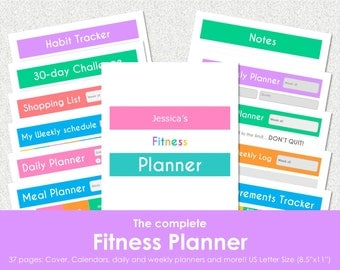 "Fitness planner kit printable. Workout log and tracker, 30 Day challenge plan for binder. US Letter (8.5""x11""). Instant download. PDF File"