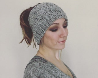 Gray Crochet Ponytail Messy Bun Hat