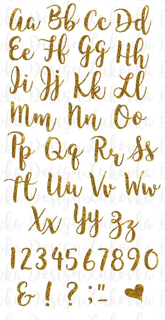 Gold Glitter Alphabet Letters Numbers Gold Alphabet