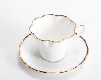White Eggshell Bone China Teacup and Saucer Salisbury c. 1940-70