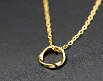 Necklace wave in vermeil 24 k and 18 k, minimalist/delicate/french/celebration of mothers