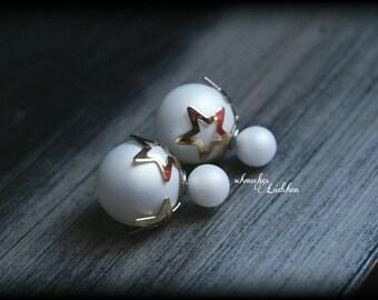 White Pearl double Pearl Stud Earrings