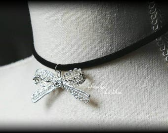 Choker necklace made of black suede leather strap with silver loop pendant
