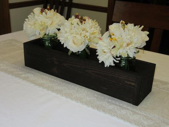 Dark walnut stained wood planter box mason jar centerpiece