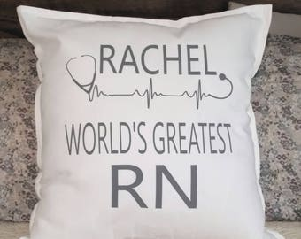 World's Greatest Nurse Pillow Cover-Accent Pillow-Throw Pillow-Personalized Pillow
