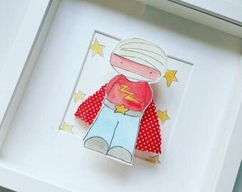 3d superhero boy hand drawn