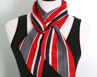 Vintage Red White and Blue Long Striped Scarf, Head Scarf Hair Wrap, Patriotic Clothing, Sash Belt, Neck Scarf, Summer Scarf, Head Wrap