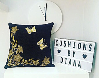 "Stunning decorative black chenille embroidered handmade cushion cover home decor 16 x 16"" floral butterfly design  art gift  style"