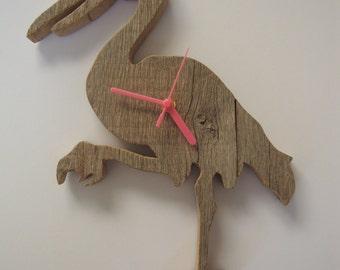 Drift wood flamingo clock.
