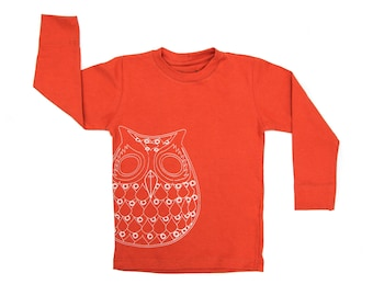 Long sleeve T - Orange Owl