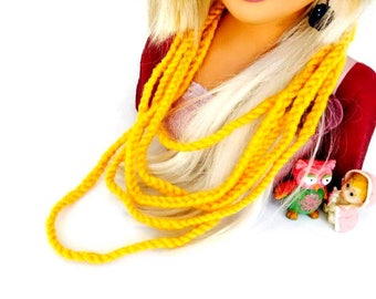 Knitted Yellow Necklace, Yarn Necklace, Crochet Jewelry, Textile Necklac,e Ribbon Necklace, Crochet Necklace, Woman Necklace, Gift for her