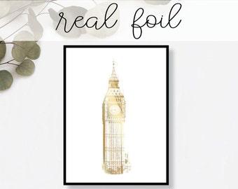 Big Ben London Print // Real Gold Foil // Minimal // Gold Foil Art // Home Decor // Modern Office Print // England // Landmark // World