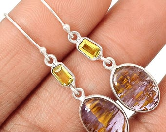 Cacoxenite Citrine Sterling Silver Earrings / Super Seven Crystals Gemstone