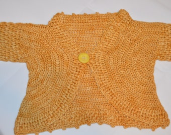 2 - 3 Years Old Girls' Orange Cardigan