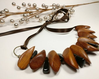 CARAMEL CHAI - Natural Bayong Wood with Brown Glass Beads Ribbon Tie Necklace