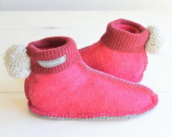 Recycled Slipper Boots, Women's Slippers, Handmade and Unique, Eco friendly, Ethical Gift, Mothers Day Gift UK 6-7, US 8-9