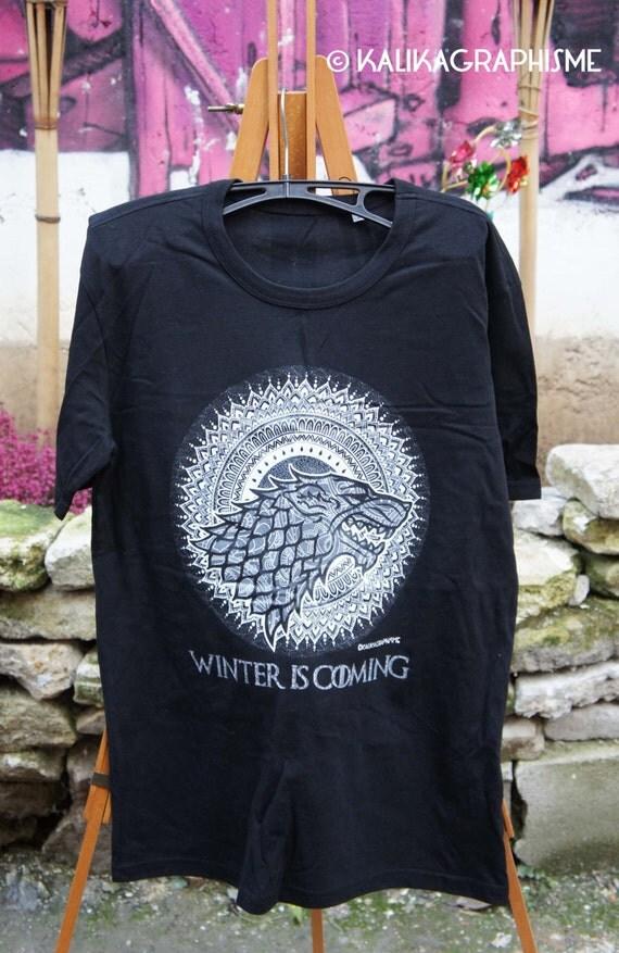 T-Shirt Game of Thrones - Mandala - Stark - Black - man z5YW6o