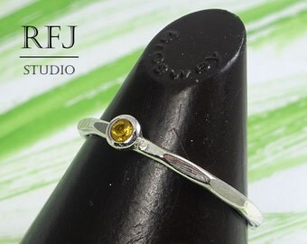 Natural Citrine Faceted Silver Ring, 2 mm Round Cut Yellow Citrine Ring with Facets, Sterling Stacker Citrine Ring, Genuine Citrine Ring