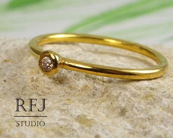 24K Gold Citrine Ring, Yellow Gold Plated November Birthstone Ring, 2 mm Yellow CZ Gold Plated Tiny Ring, Stackable Gold Citrine Ring
