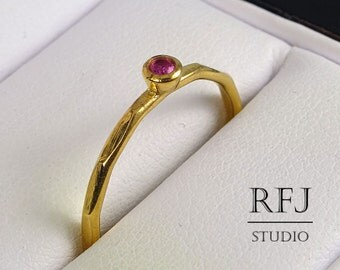 Faceted Lab Ruby Gold Ring, July Birthstone Jewelry, 24K Yellow Gold Plated Pink 2 mm Corund Ring, Ruby Gold Stackable Ring, Birthstone Ring