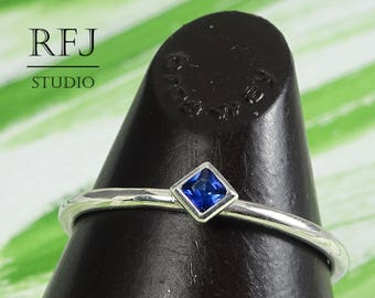 Kite Synthetic Spinel Sterling Silver Ring, Tiny Promise Ring, Princess Cut 2x2 mm Dark Blue Spinel Stacked Ring Square Setting Classic Ring