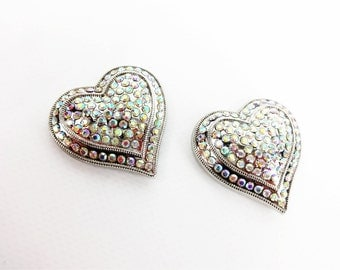"Two 1-1/2"" Silver Bling Heart Single Post Arts & Crafts Western Bridle Repair Concho"