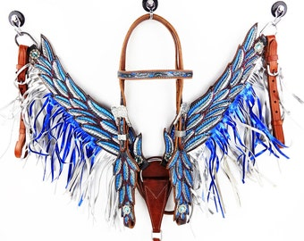 Handmade Turquoise Angle Wings Blue & Silver Fringe Bling Leather Hand Painted Headstall Western Horse Trail Bridle Breast Collar