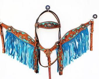 Turquoise Floral Tooled Painted Bling Fringe Western Leather Show Trail Horse Bridle Headstall Breast Collar Tack Set