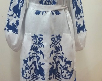 Ukrainian linen embroidered dress  Women's Blouse - Vyshyvanka . Boho style .