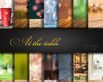 At the Table Digital Paper / Wood Table / Cup / Digital Backgrounds / Digital Paper Supplies / Pack of 14 JPG files 300dpi / Collage Paper
