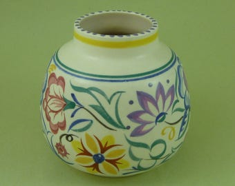 Hand Painted Art Deco Poole Pottery Floral Vase Diane Holloway 185 England