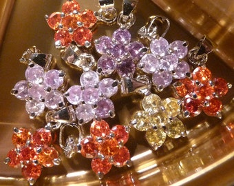 3D Rhinestone Charms Pendants, Flower Charms, Flower Pendants, Floral Charms,  Glass Rhinestone 18K White Gold Plated Fits