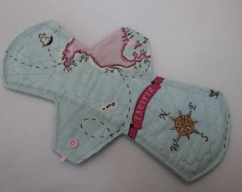 "SALE!!! 11.5"" asymmetrical moderate pad, reusable cloth menstrual pad - nautical map"