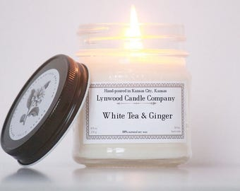 White Tea and Ginger Soy Candle // Mason Jar Candle  // Natural Candle // Candle Gift // Scented Candle // Homemade Candles // Spring Candle