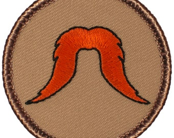Red Bushy Mustache Patch (604) 2 Inch Diameter Embroidered Patch