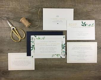 Invitation Suite   Greenery   Modern Boho Greenry Foliage Wedding Invitation   DEPOSIT LISTING