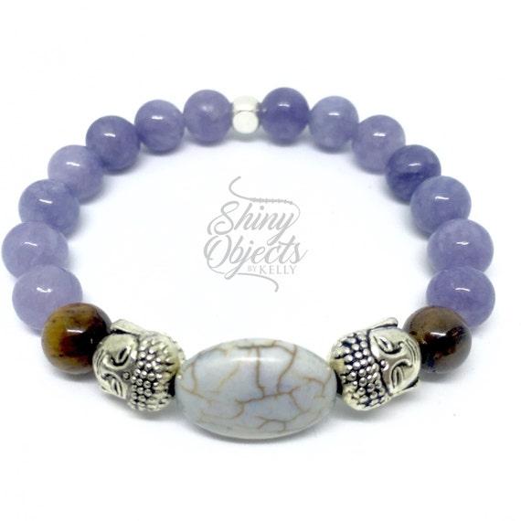 Aquamarine Silver Buddha Stretch Bracelet