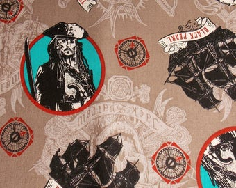 Pirates of the Carribean Fabric Remnant Pirate Fabric  Jack Sparrow Fabric Black Pearl Fabric Quilt Fabric Cotton Fabric Craft Fabric