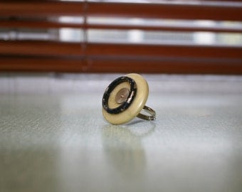 Button and pin, adjustable ring