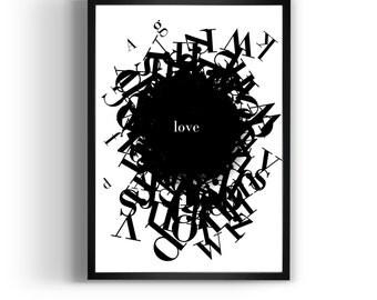 "Quote Artwork  ""Love"" inspirational quote, Motivational Art, Print, Gift Idea."