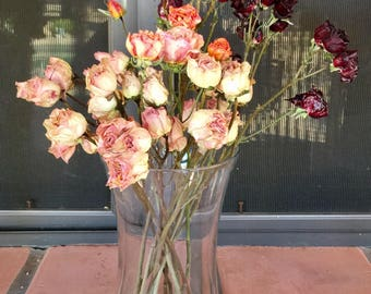 2 Dried mini rose and flower stems of 4 or more per stem