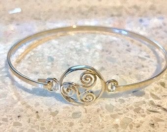 Sterling Silver Swirl Circle Bangle/Solid Silver/Handmade