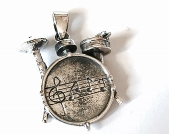 Drum Kit Sterling Silver Pendant/Free sterling Silver Chain