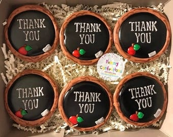 Teacher Appreciation Gifts; Teacher Appreciation Week; Thank You Teacher; Chalkboard Cookies - 1 Dozen (12 Cookies)