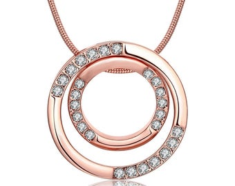 """Necklace 18K rose gold plated . """"Circle of life"""" new style."""