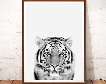 Tiger Print, Tiger Art, Tiger Printable Art, Tiger Poster, Tiger Wall Art, Animal Black and White, Black and White Prints, Nursery Wall Art