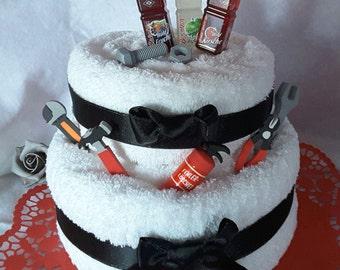 Money gift birthday, towel cake 2 storeys