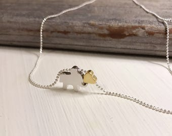 Matte silver elephant necklace with matte gold heart